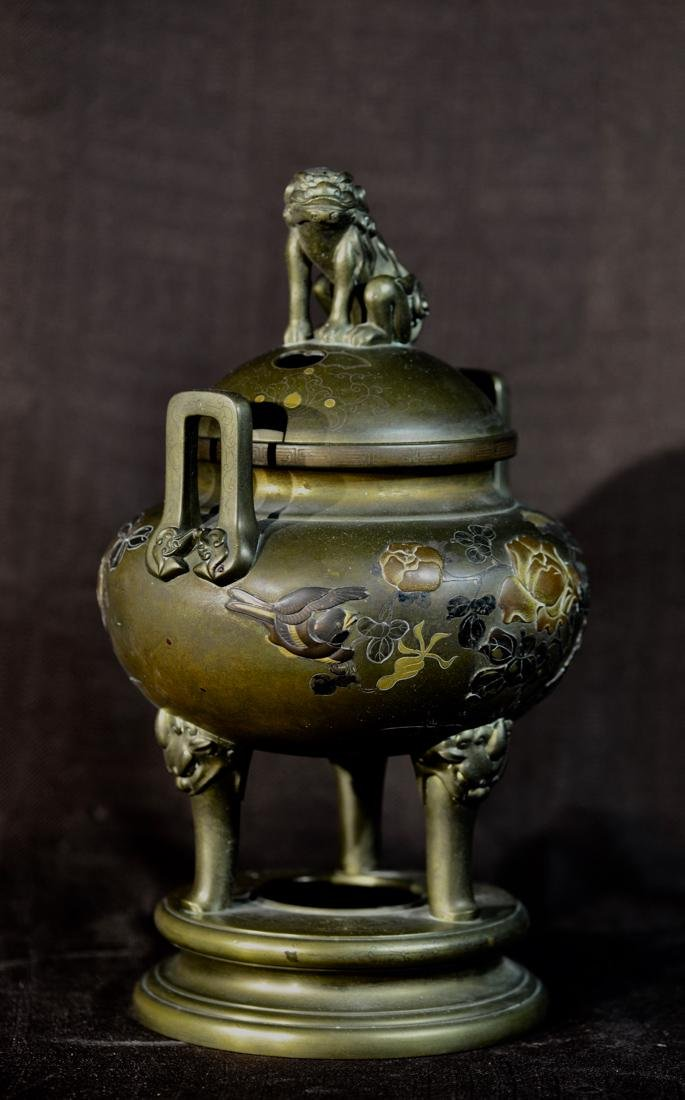 Japanese Mixed Metal Bronze Censer with Foolion Finial - 4