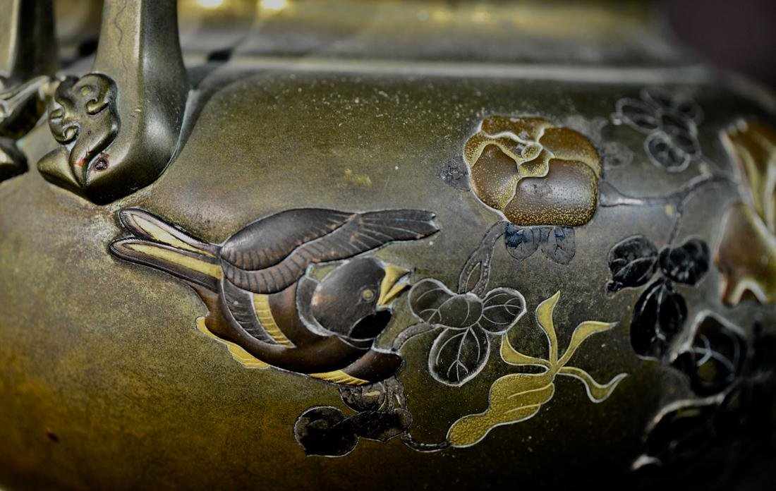Japanese Mixed Metal Bronze Censer with Foolion Finial - 5