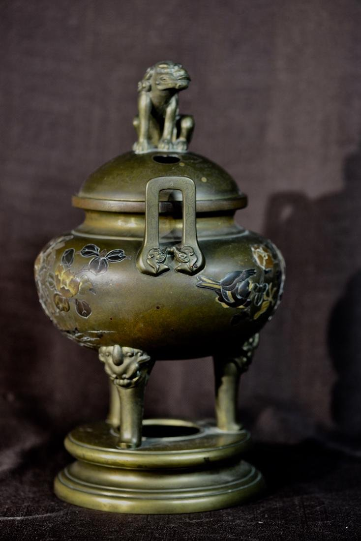 Japanese Mixed Metal Bronze Censer with Foolion Finial - 7