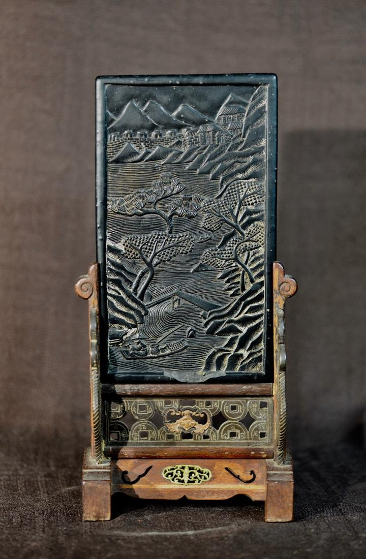 Chinese Inkcake Miniture Table Screen