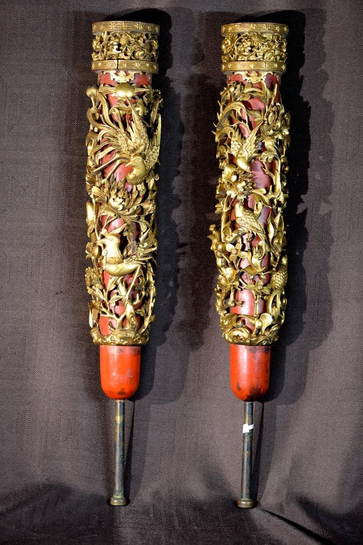 Pair Chinese Carved Wood Candle Holder