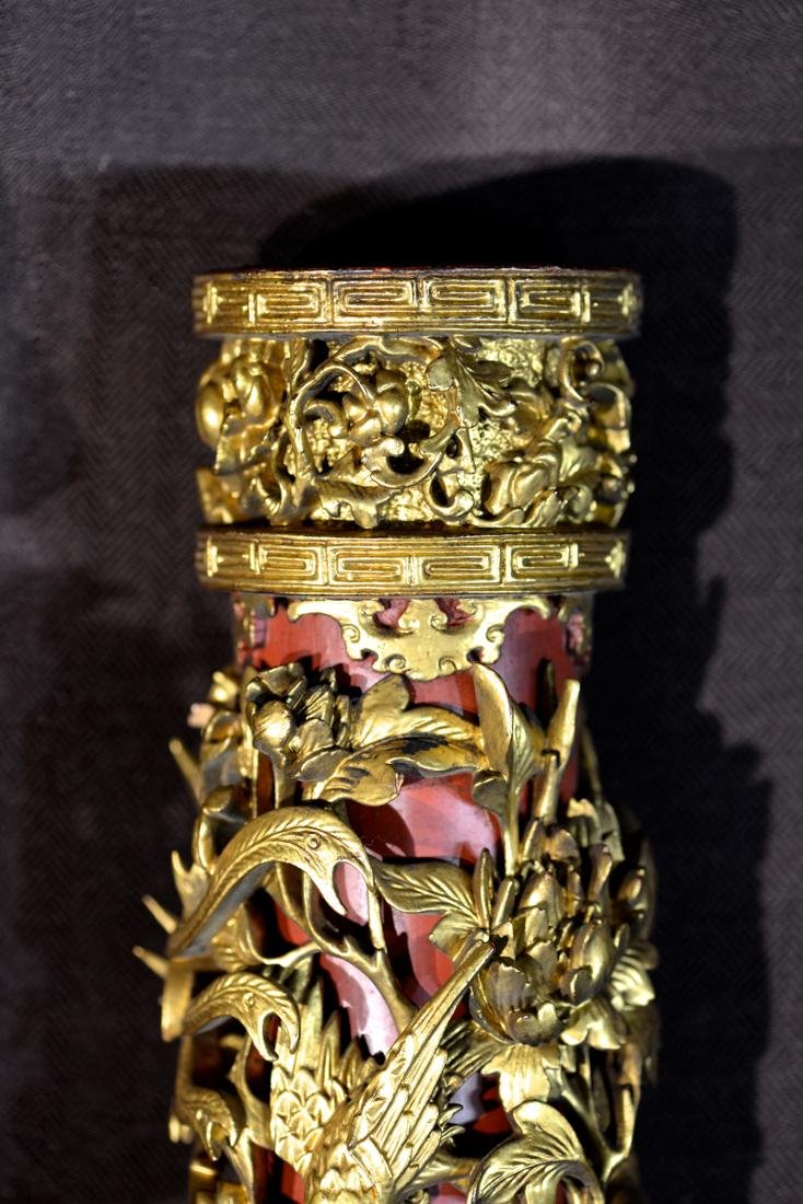 Pair Chinese Carved Wood Candle Holder - 4