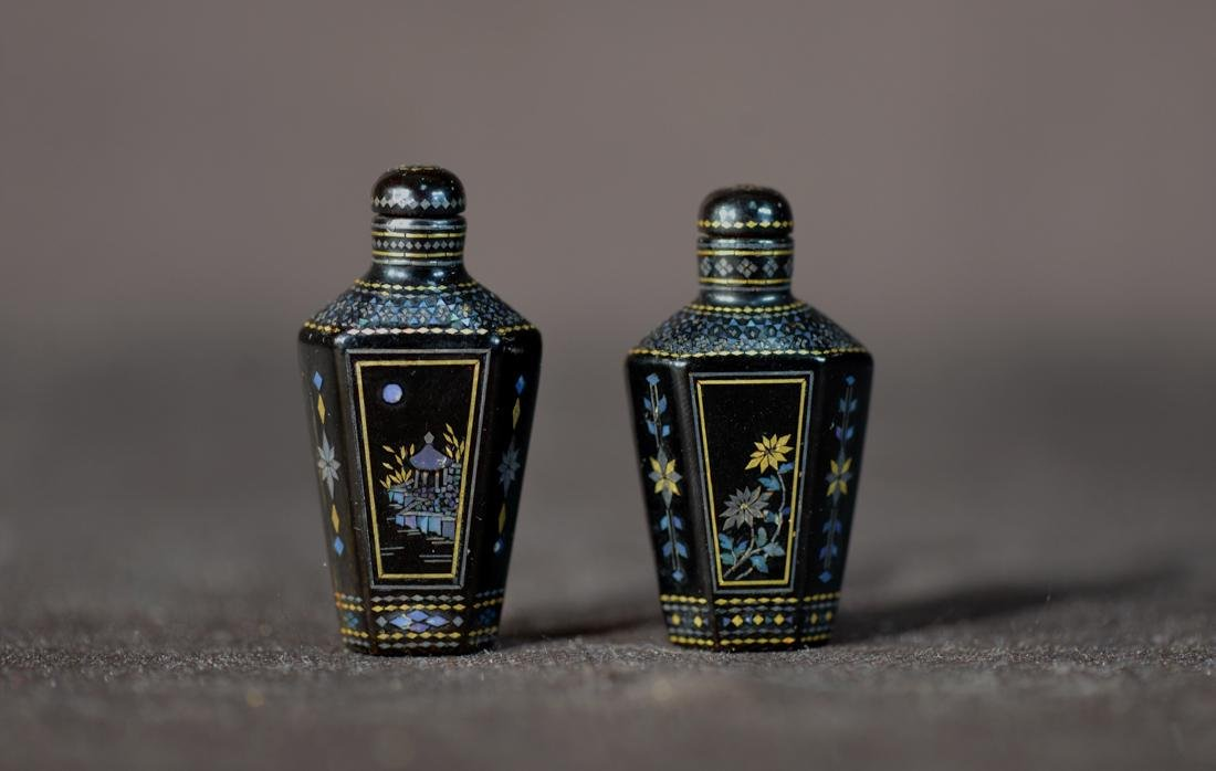 Pair Chinese Lacquer Snuff Bottle with Inlay