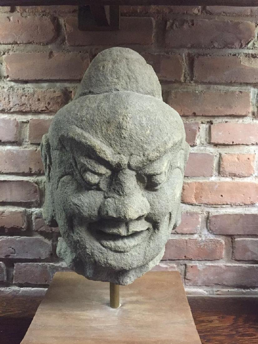 Large Chinese carved stone Buddha head
