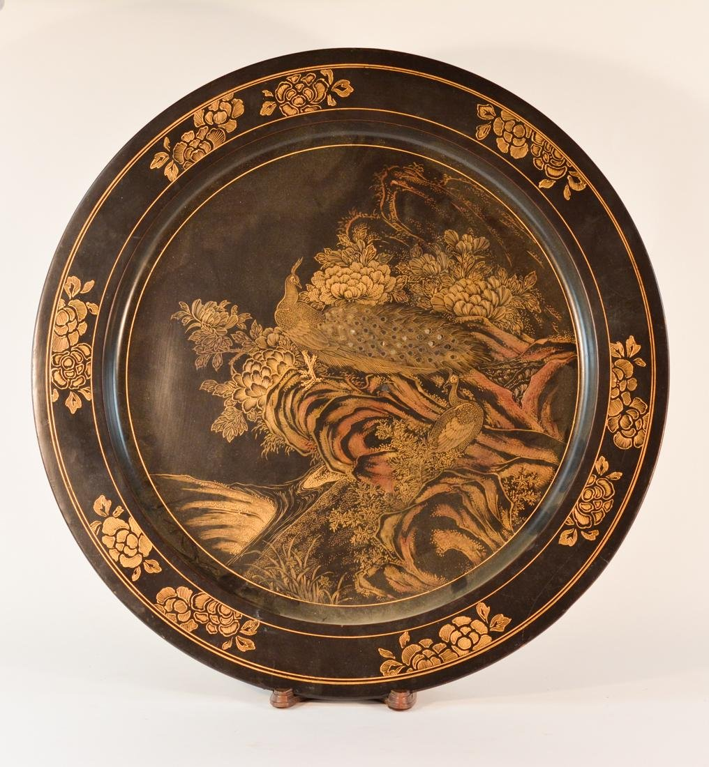 Large Chinese Black Lacquered Charger with Gilt