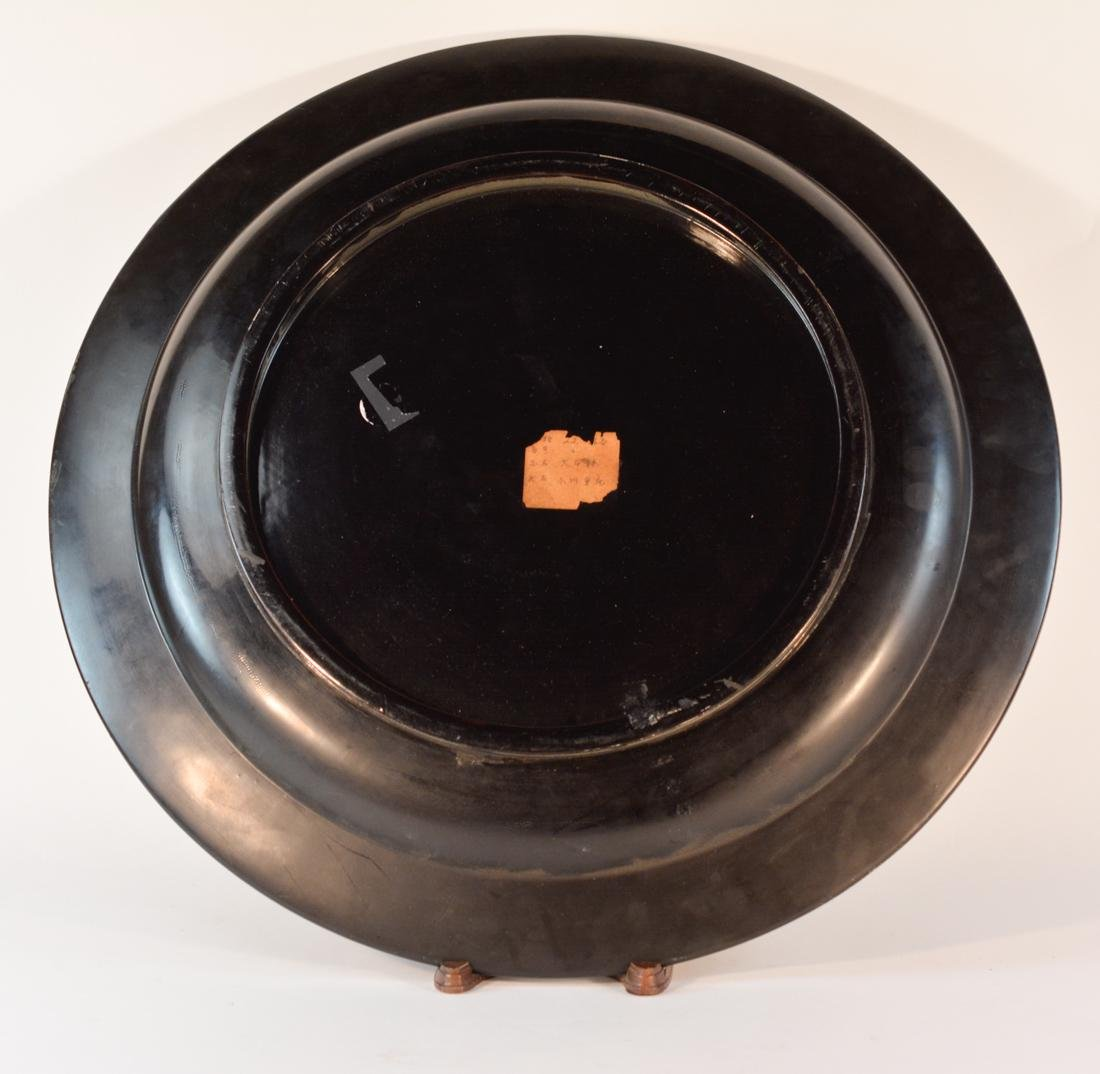 Large Chinese Black Lacquered Charger with Gilt - 8