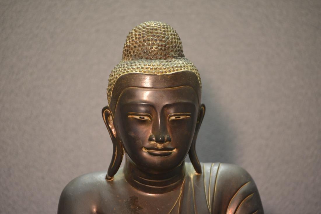 Siamese Thai Bronze Seated Buddha with Inscription - 2