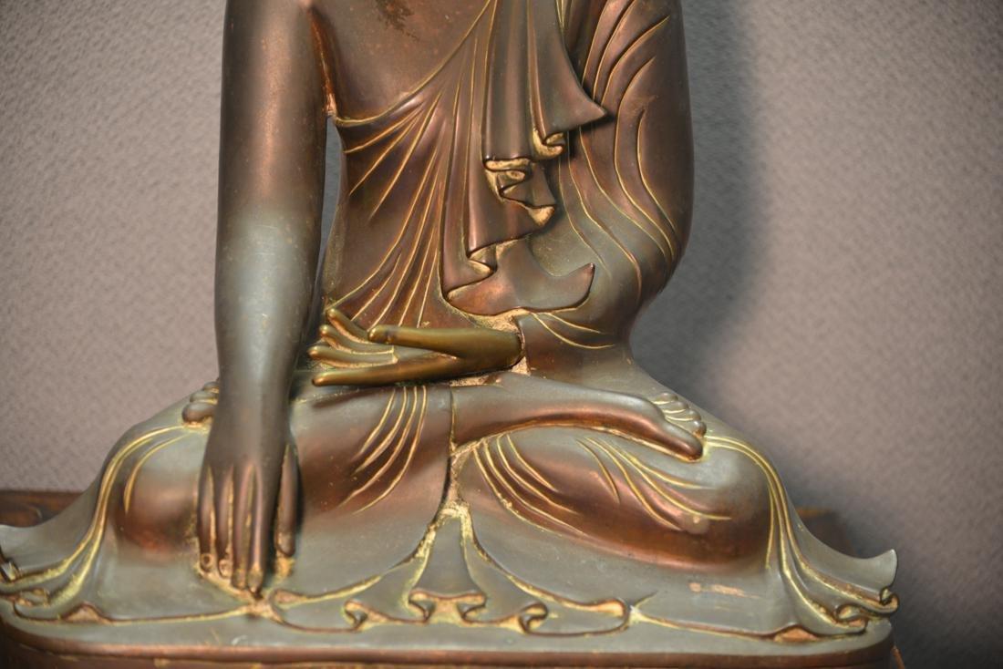 Siamese Thai Bronze Seated Buddha with Inscription - 3