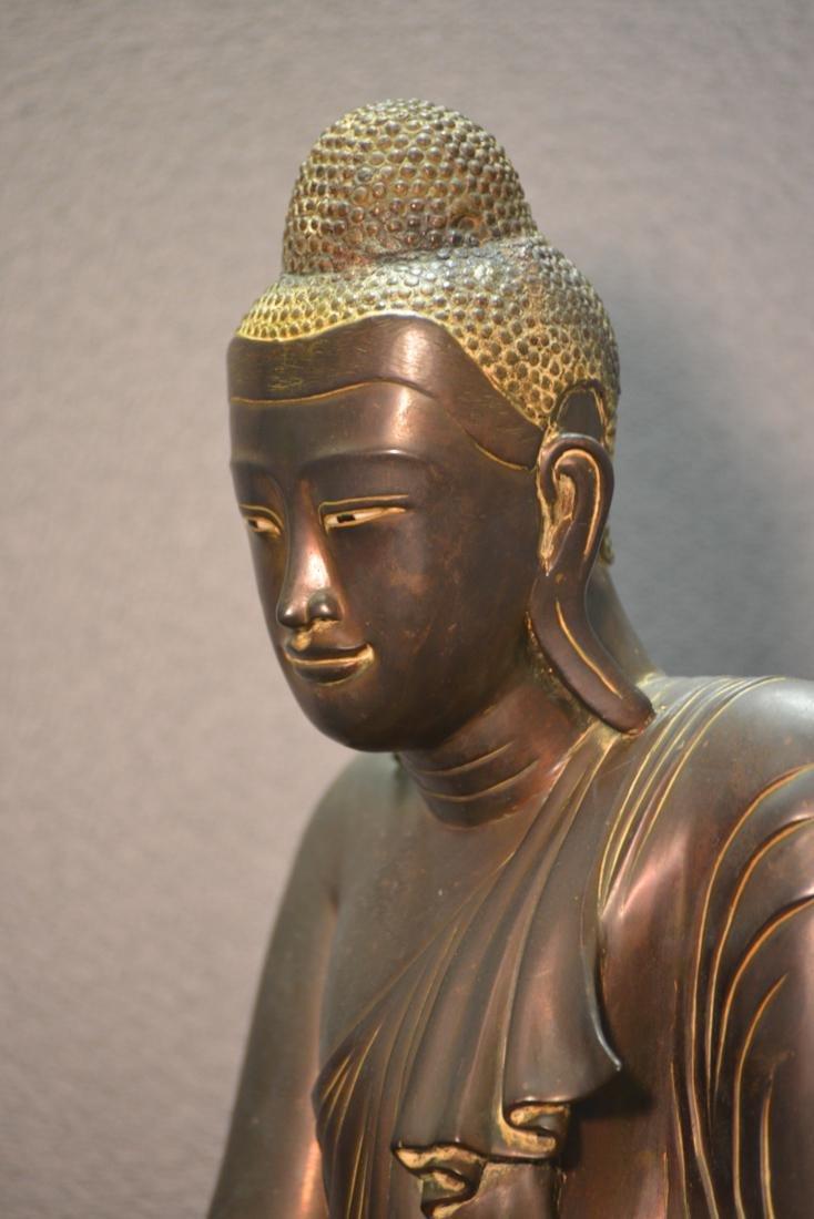 Siamese Thai Bronze Seated Buddha with Inscription - 6