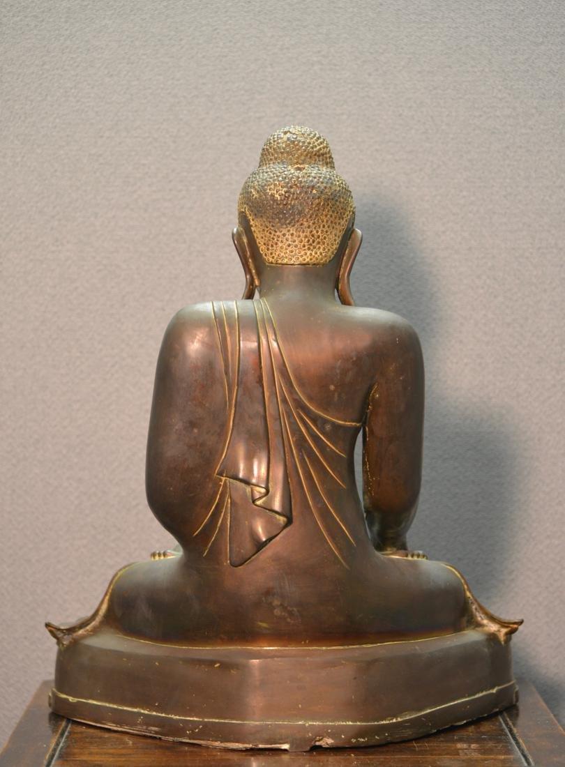 Siamese Thai Bronze Seated Buddha with Inscription - 7