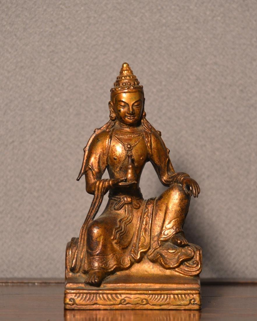 Chinese Bronze Seated Kuanyin with Gold Lacquer