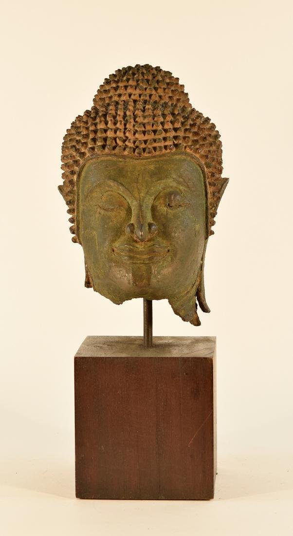 Antique Thai Bronze Buddha Head on Stand