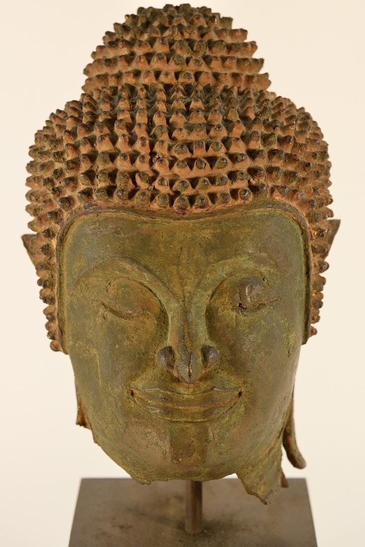 Antique Thai Bronze Buddha Head on Stand - 2