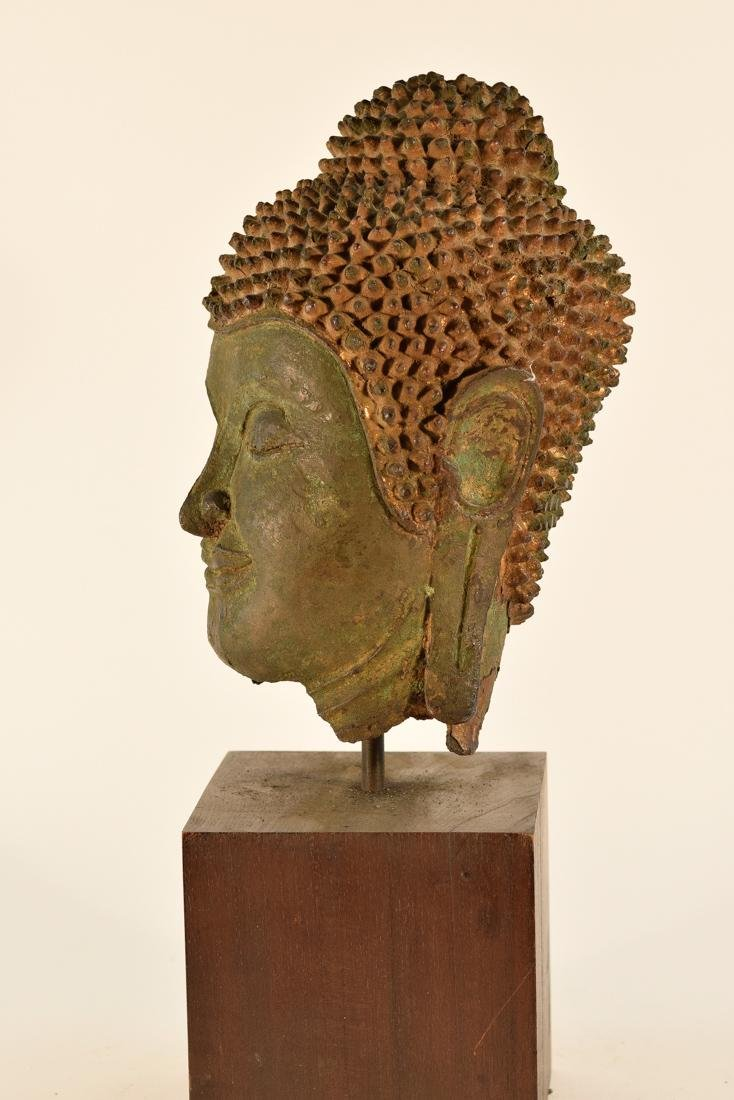 Antique Thai Bronze Buddha Head on Stand - 4
