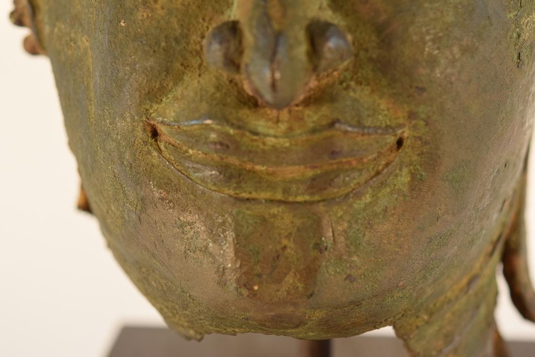 Antique Thai Bronze Buddha Head on Stand - 9