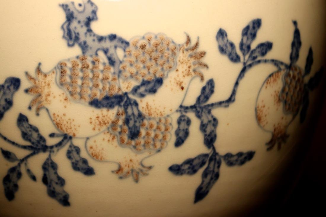 Chinese Porcelain Scholar Fishbowl with Wood Base - 2