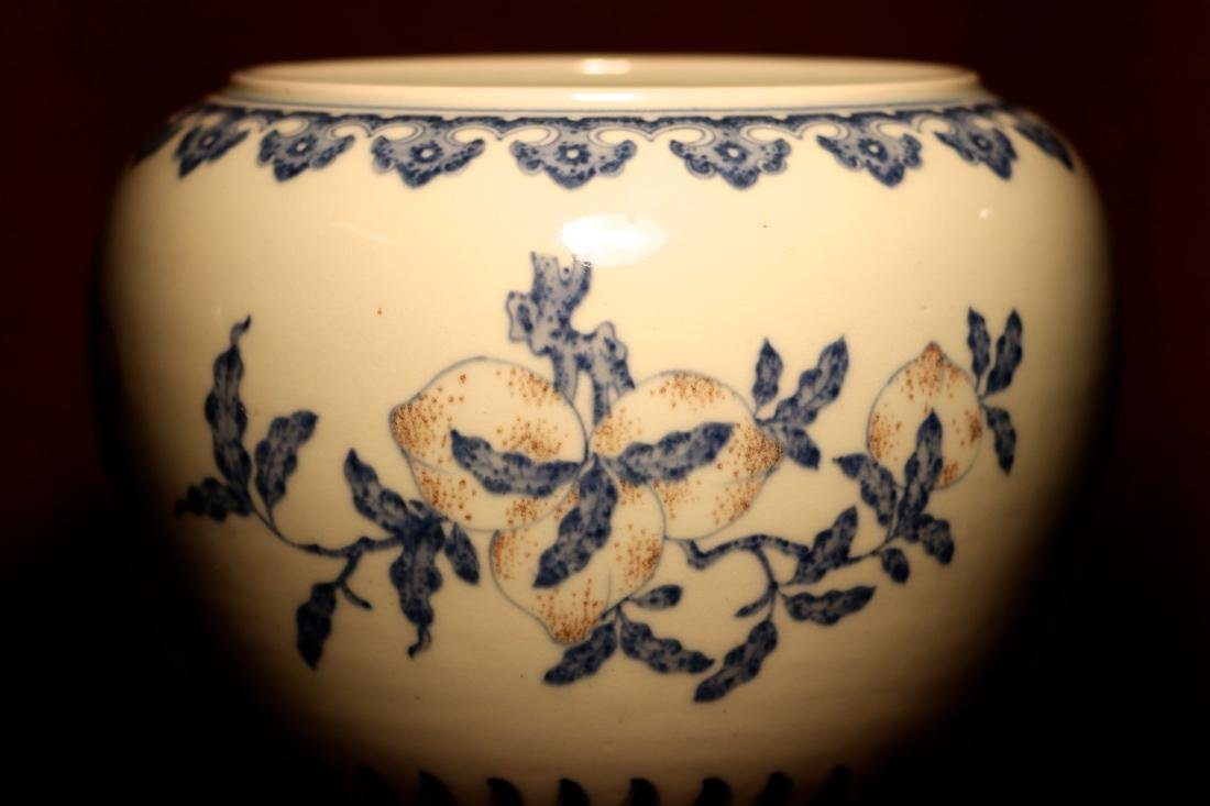 Chinese Porcelain Scholar Fishbowl with Wood Base - 5