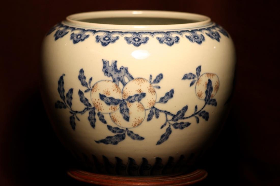 Chinese Porcelain Scholar Fishbowl with Wood Base - 6