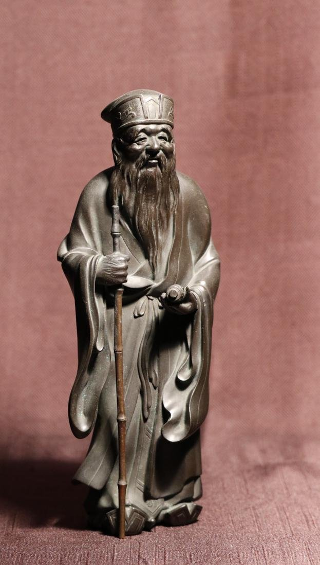 Japanese Bronze Scholar with Scroll