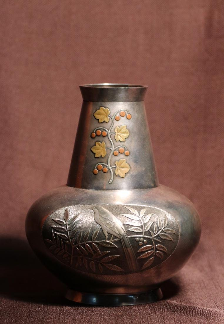 Japanese Silver Vase with Bird and Berry Scene