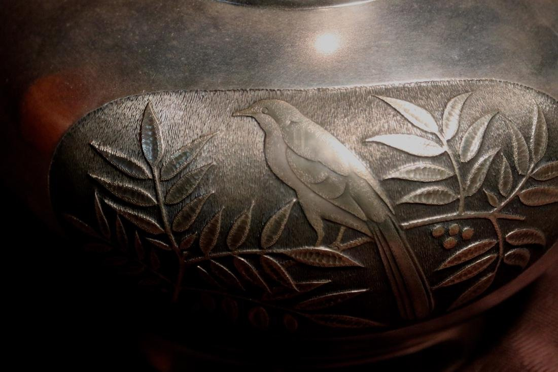 Japanese Silver Vase with Bird and Berry Scene - 2