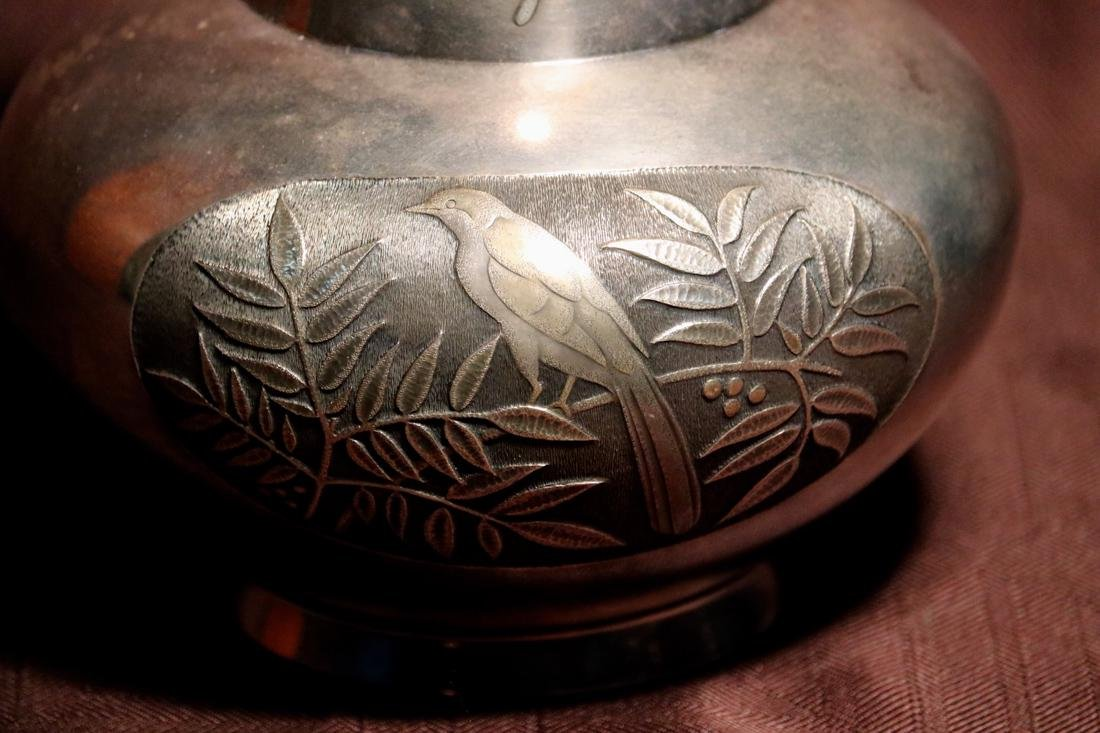 Japanese Silver Vase with Bird and Berry Scene - 5