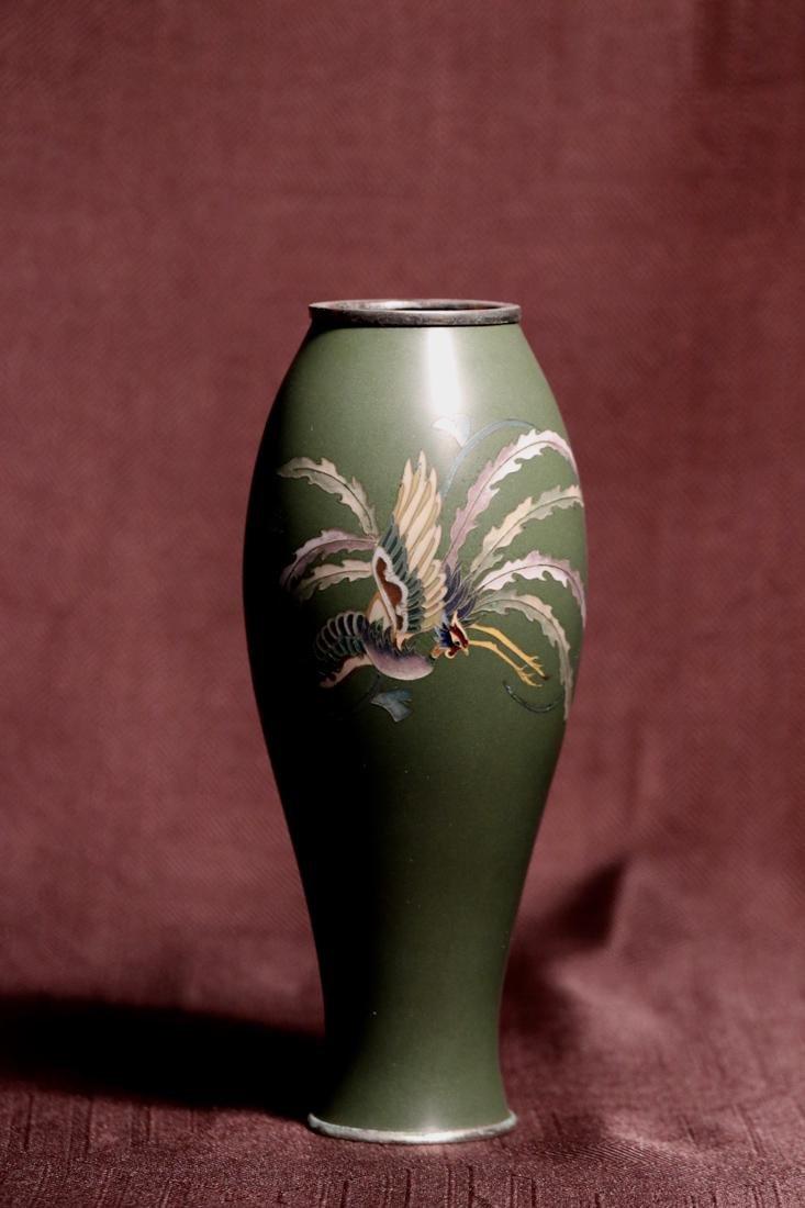 Japanese Cloisonne Vase Pheonix Motif by Inaba