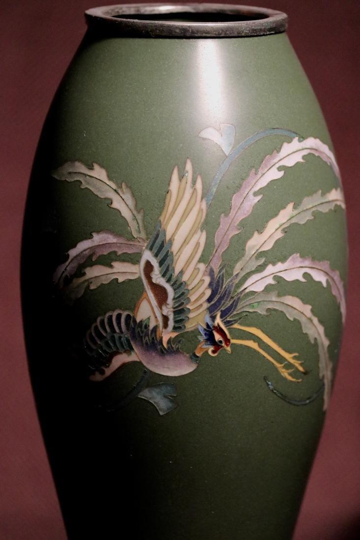 Japanese Cloisonne Vase Pheonix Motif by Inaba - 2