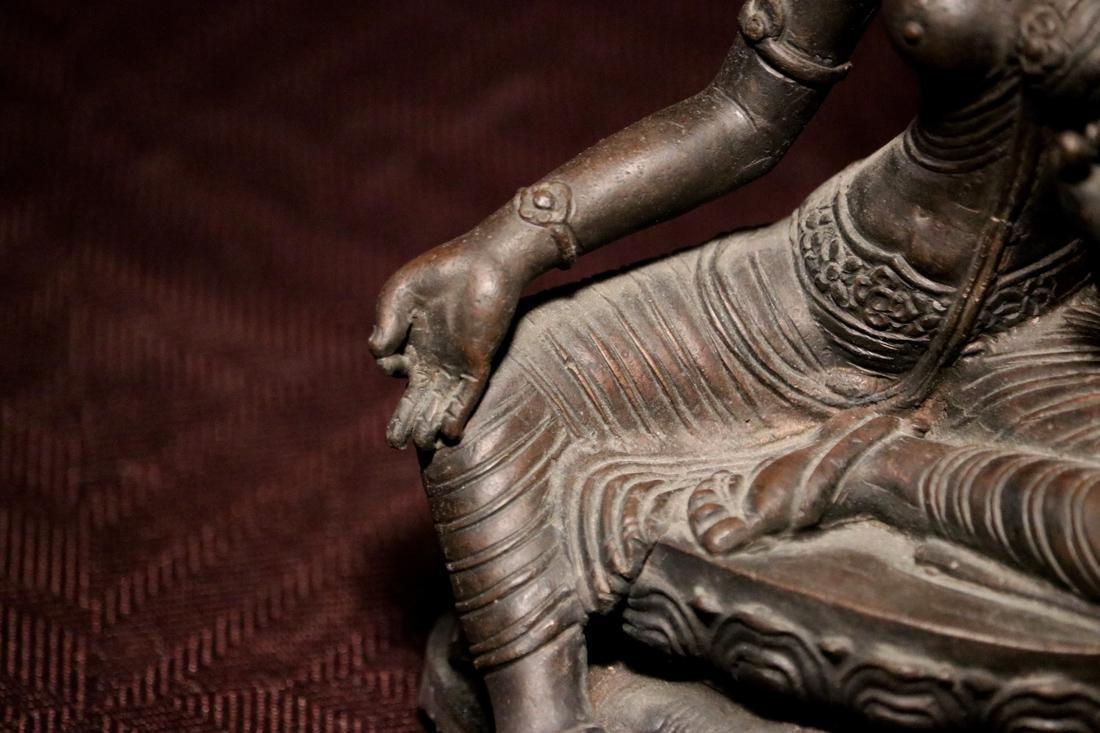 Tibet Nepalese Bronze Seated Tara - 4