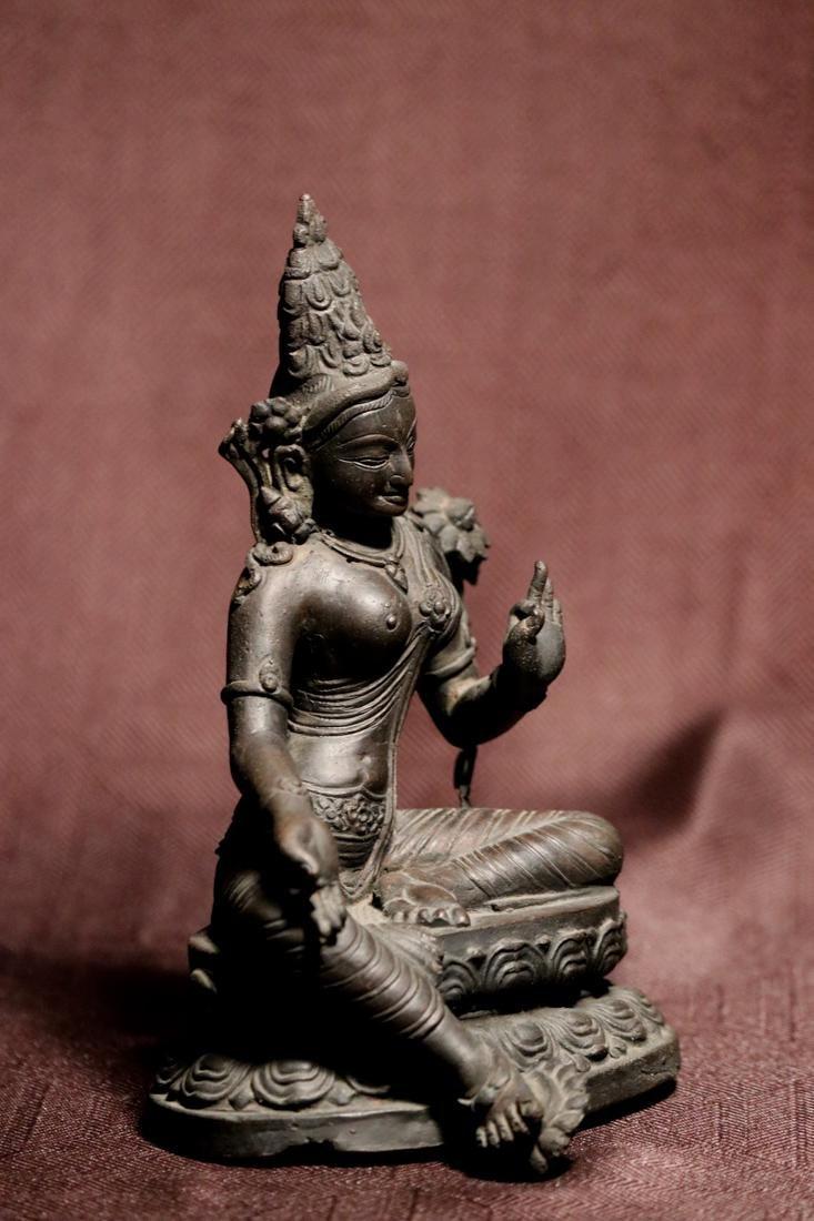 Tibet Nepalese Bronze Seated Tara - 5