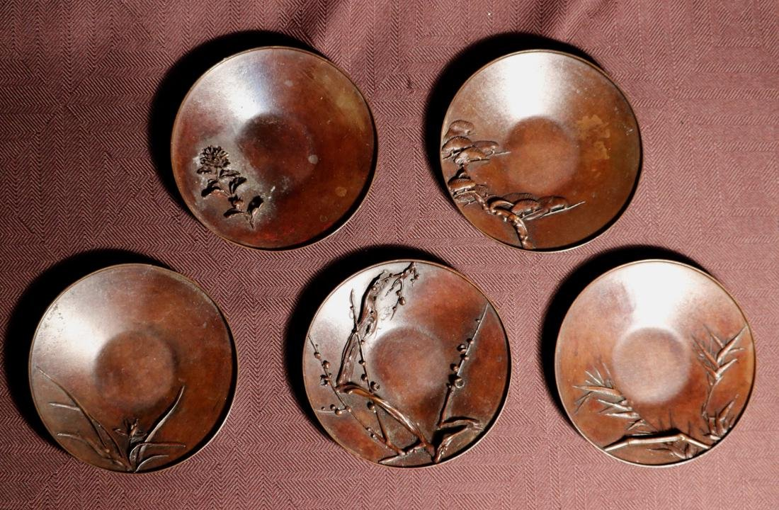 Set of Five Japanese Bronze Tea Dishes with High Relief