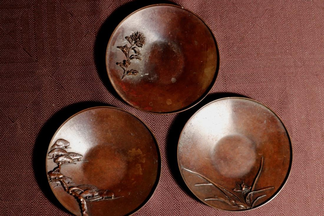 Set of Five Japanese Bronze Tea Dishes with High Relief - 5