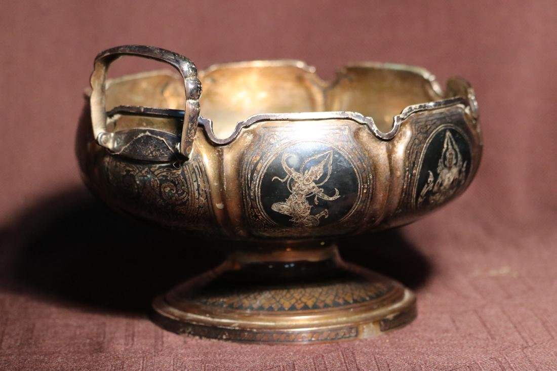 Burmese Silver Bowl with Inlaid Design - Albert - 3
