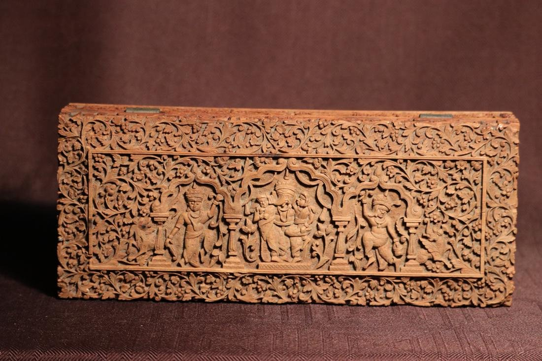 Indian Sandle Wood Box with Figural Scene - Albert