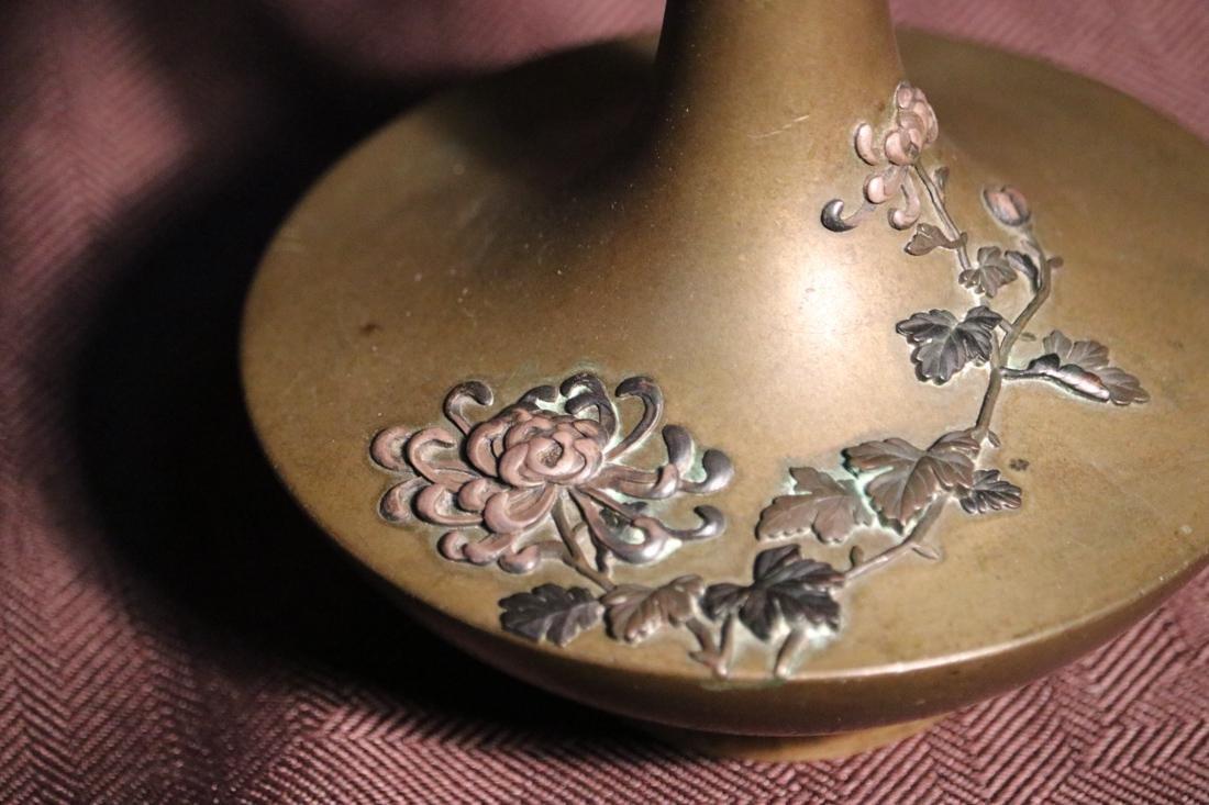 Japanese Bronze Vase with Elephane Mask Hanlde - Albert - 2