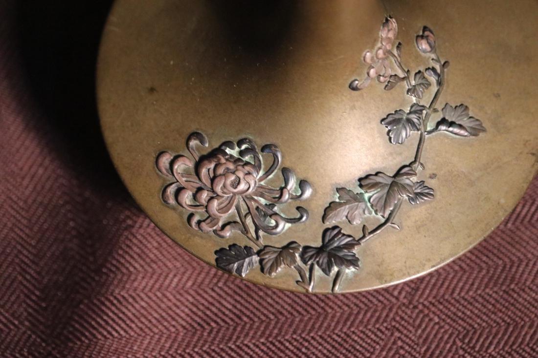Japanese Bronze Vase with Elephane Mask Hanlde - Albert - 3
