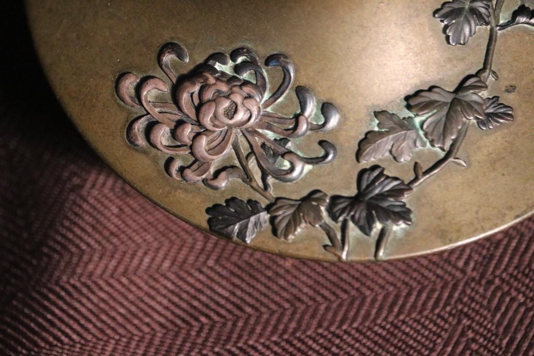 Japanese Bronze Vase with Elephane Mask Hanlde - Albert - 4