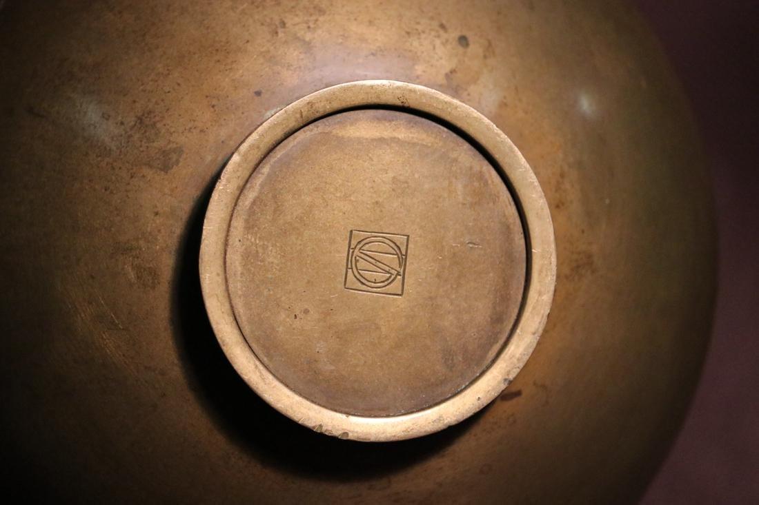 Japanese Bronze Vase with Elephane Mask Hanlde - Albert - 7