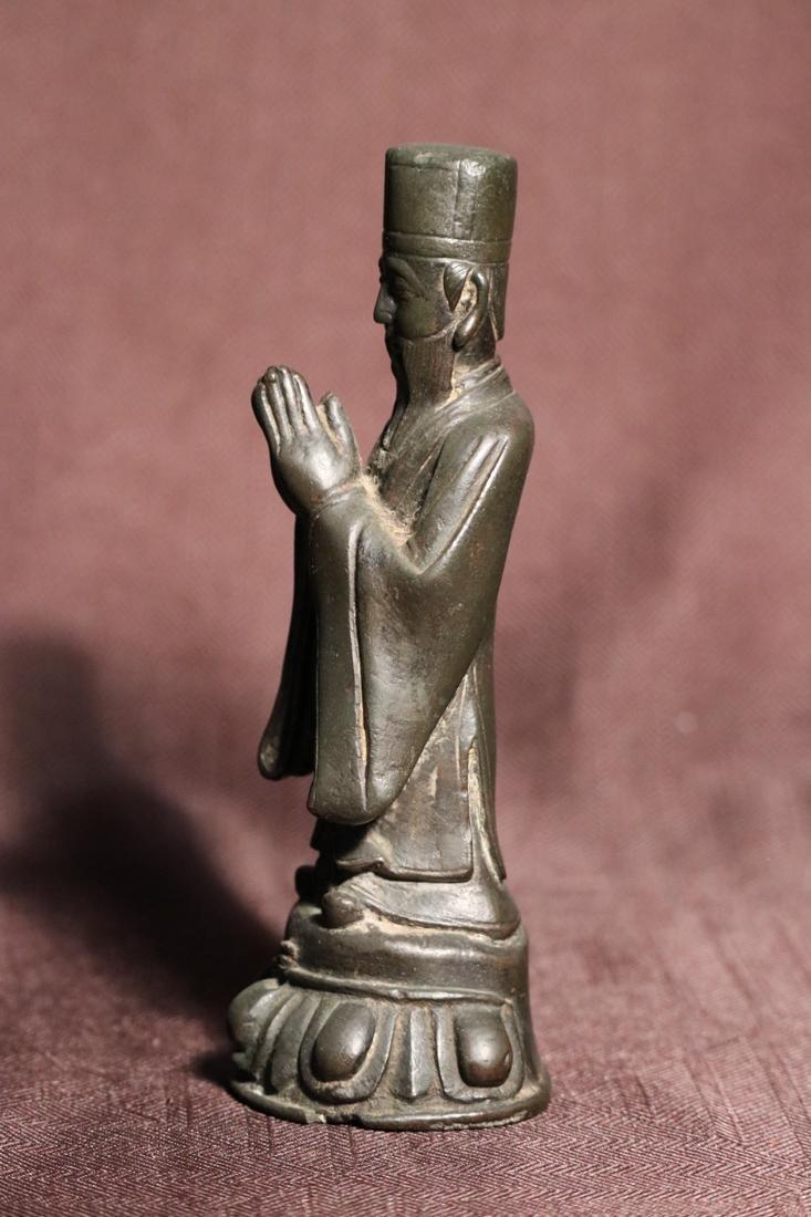 Chinese Ming Bronze Standing Daoist Figurine - Albert - 4