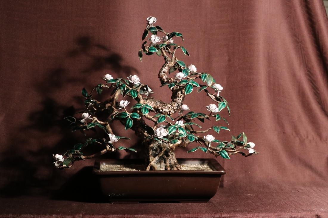 Chinese Enamled Floral Blossom Bonsai Planter - Albert