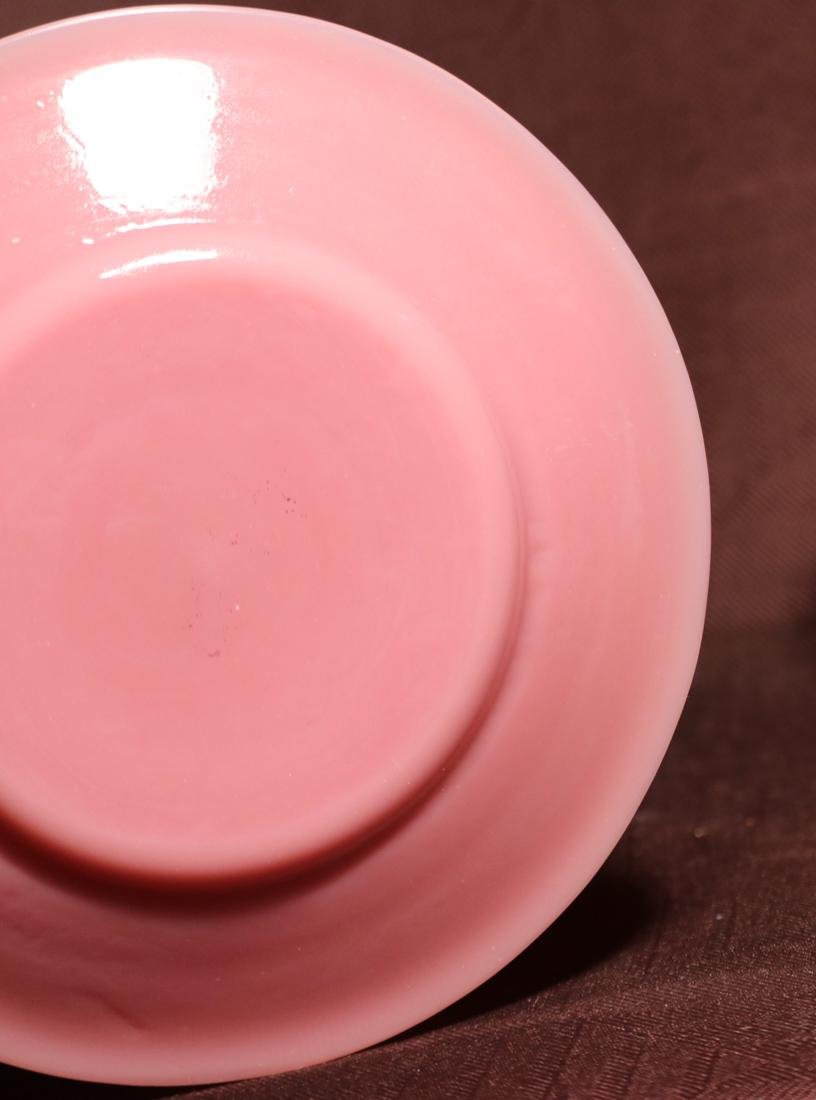 Pair Chinese Pink Peking Glass Dishes - Albert Gallatin - 4