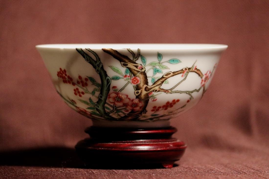 Chinese Porcelain Bowl with Wood Base - Albert Gallatin