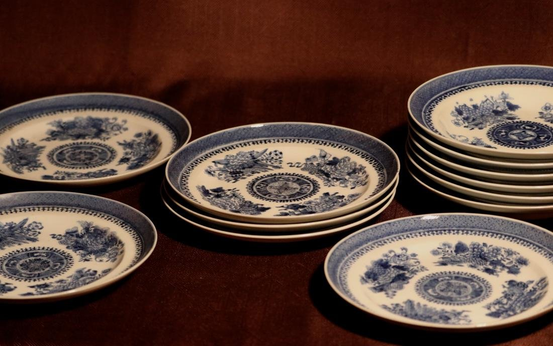 Chinese 18th cen Export Blue White Porcelain Dishes -