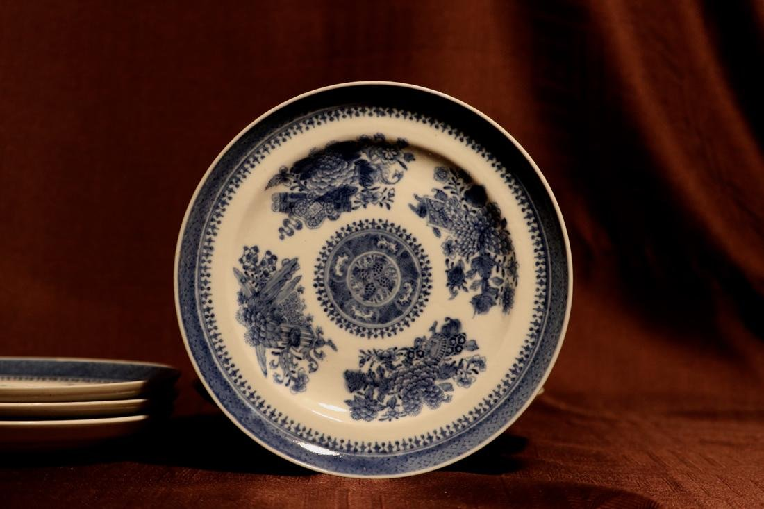 Chinese 18th cen Export Blue White Porcelain Dishes - - 2