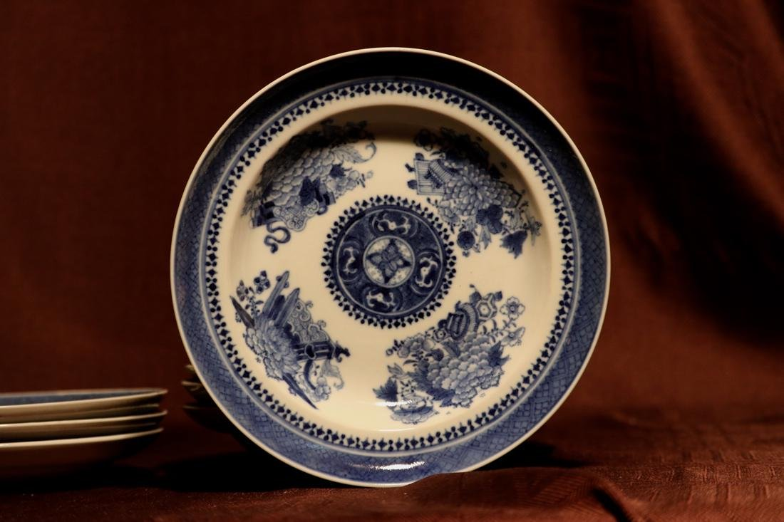 Chinese 18th cen Export Blue White Porcelain Dishes - - 5