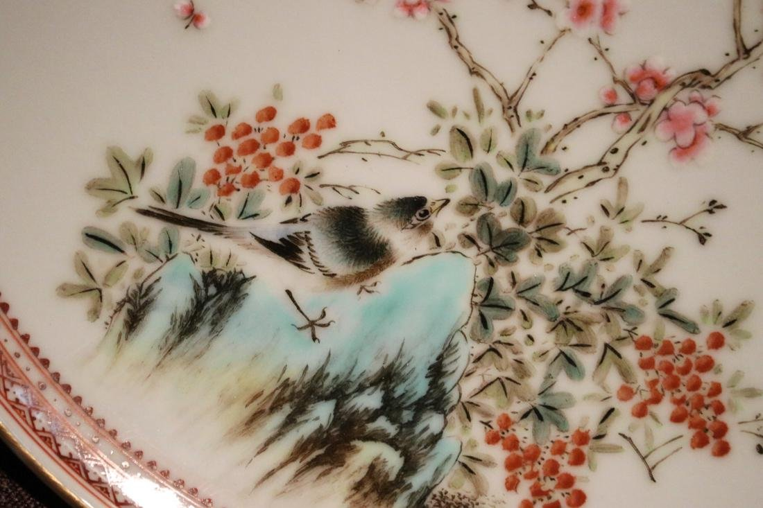 Chinese Famille Rose Porcelain Dish with Bird #1  - - 4