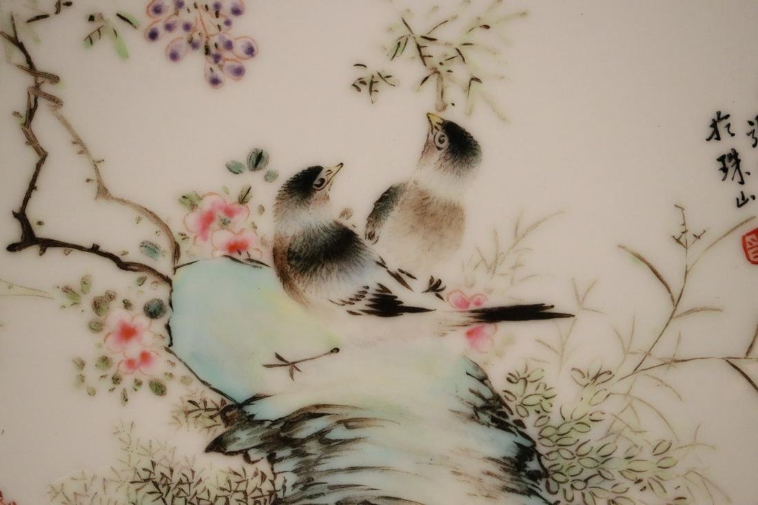 Chinese Famille Rose Porcelain Dish with Bird #2 - - 2