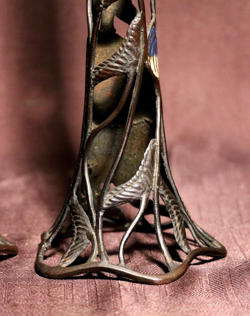 Pair Cloisonne Candle Holder with Lotus Motif - Albert - 7