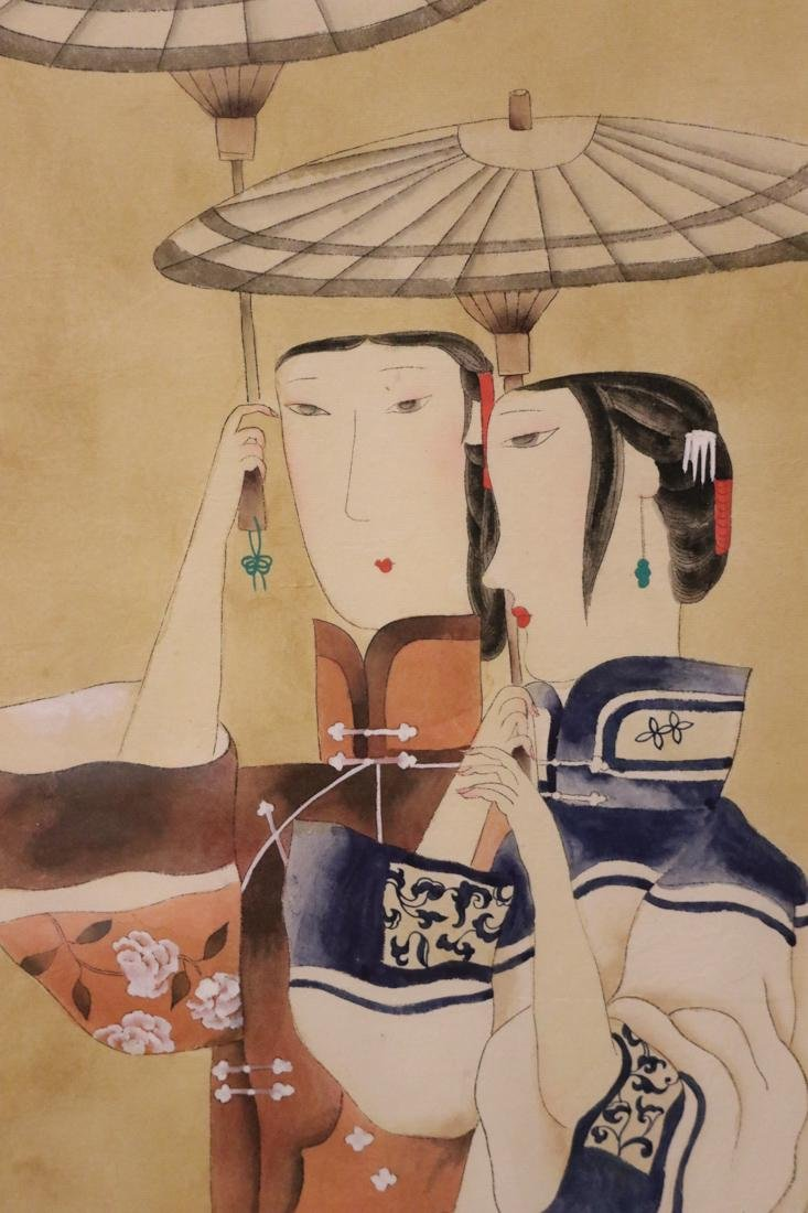 Chinese Modern Water Color Painting of People with - 4