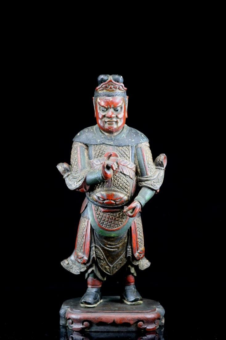 Chinese Ming Lacquered Wood Guardian - Albert Gallatin